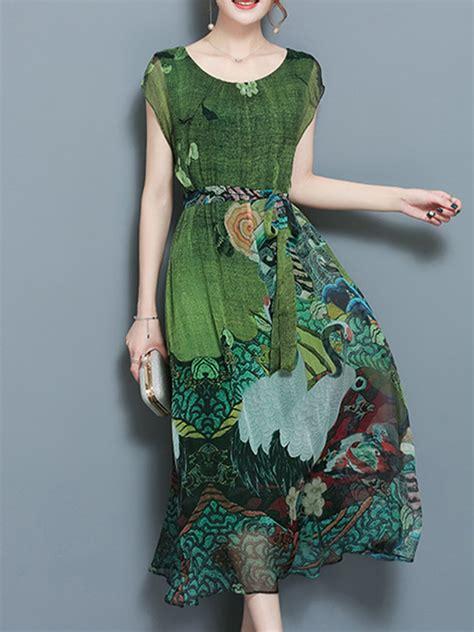 Sleeve Printed Dress vintage printed sleeve mid dresses
