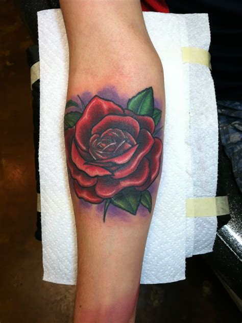 david meek tattoos illustrative custom color rose forearm