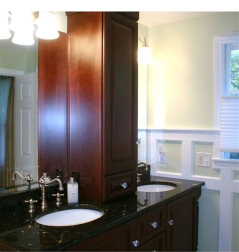 black linen tower cabinet maple vanity with black granite countertop with