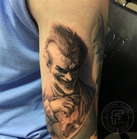 cartoon realism tattoo arkham joker tattoo by francisco sanchez tattoos