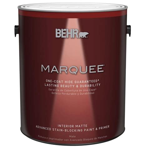 behr marquee 1 gal ultra white matte one coat hide interior paint and primer in one 145001