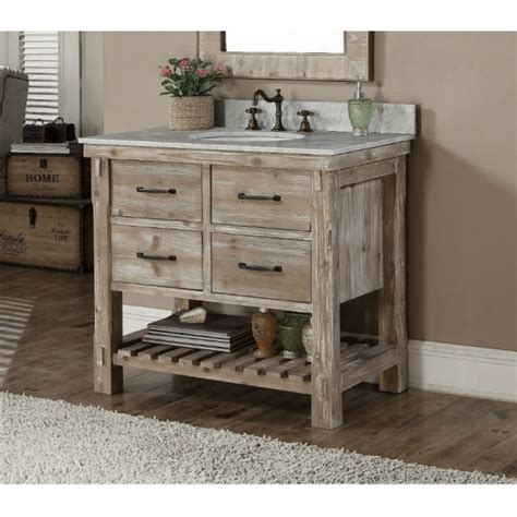 rustic white vanity rustic style carrara white marble top 36 inch bathroom