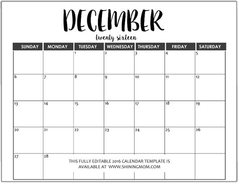 december calendar templates image gallery editable december 2015