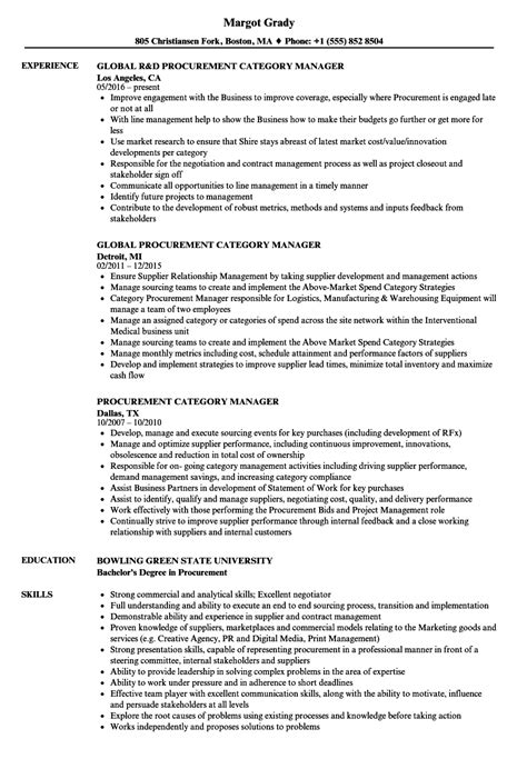 procurement category manager resume sles velvet
