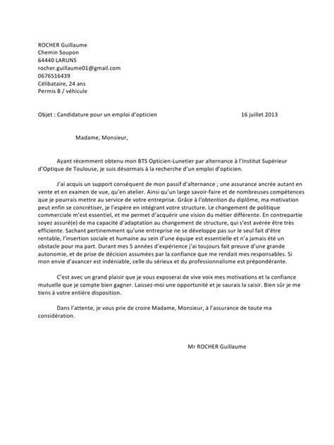 Exemple De Lettre Demande De Stage Gratuit modele lettre de motivation stage conventionne document