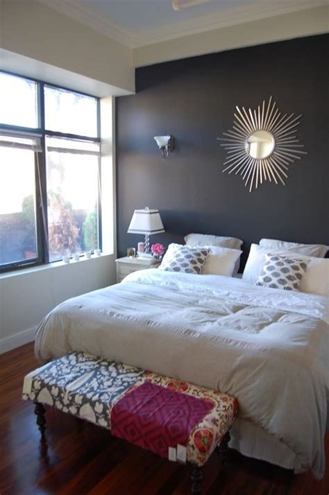 dark accent wall in small bedroom would like this if dark purple for the home pinterest