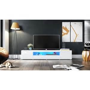 meuble tv moderne laqu 233 blanc 200 cm avec led pour meubles