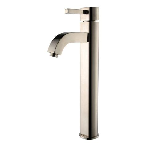 bathtub faucets home depot kraus rainfall single lever vessel bathroom faucet in satin nickel finish the home depot canada