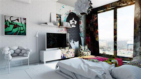 artist designed interiors art hotel bedroom designs half white half graffiti designer splits hotel room into