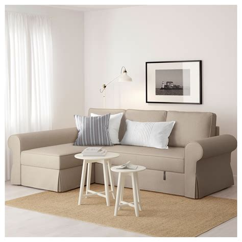Sofa Bed With Chaise Longue Backabro Sofa Bed With Chaise Longue Hylte Beige Ikea