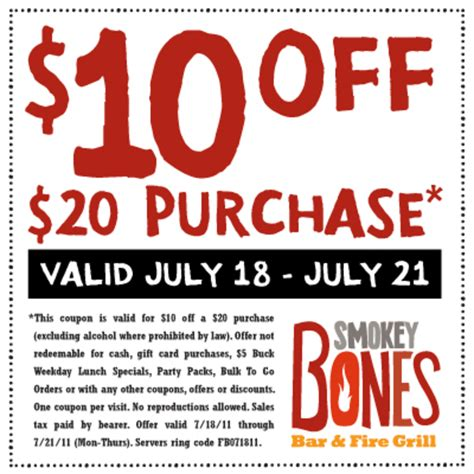 free printable restaurant coupons templates smokey bones 10 off coupons free