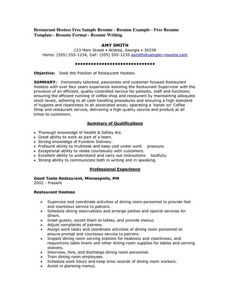 Hostess Resume by Resume For Hostess Best Template Collection