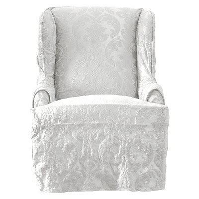 white wing chair slipcover matelasse damask wing chair slipcover cover white sure