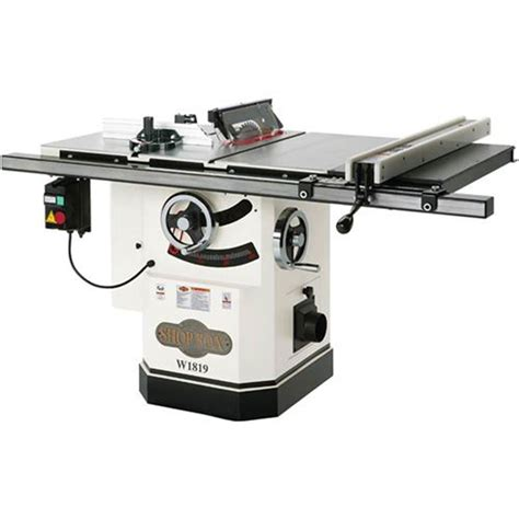 cabinet table saw power saws shop fox 10 inch 3 hp cabinet table saw with riving knife w1819