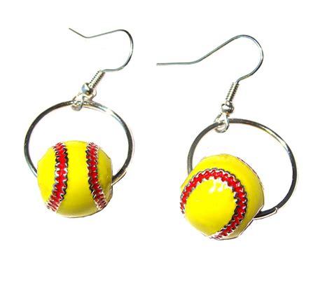 softball earring hoop enamel