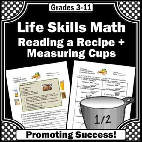 Kitchen Measuring Lesson Plans Skills Math Worksheets Reading A Recipe Comprehension