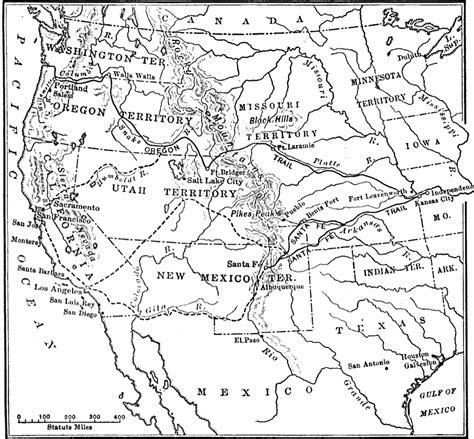 map of oregon trail 1850 the santa fe and oregon trails to the pacific coast
