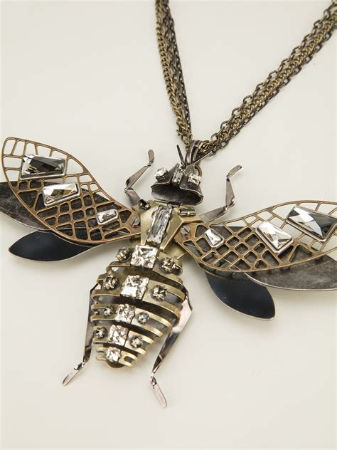 double strand short necklaces like kyle richards lyst lanvin embellished insect necklace in metallic