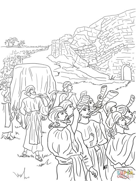 Joshua And The Fall Of Jericho Coloring Page Free Joshua Jericho Coloring Page