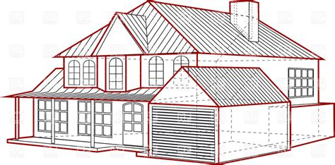 Layout of country house   plan of building with garage