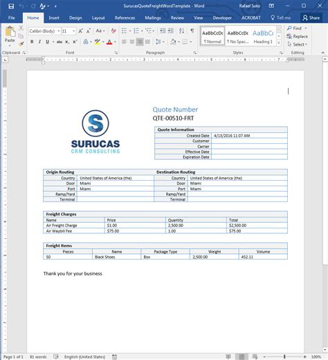 creating freight quote templates in word surucas