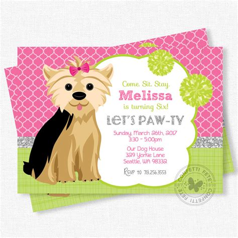 puppy birthday invitations puppy invitation birthday invitation yorkie