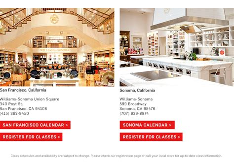 Williams Sonoma Gift Card Discount - cooking classes cooking school williams sonoma