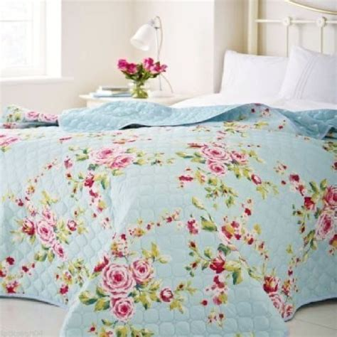 Shabby Chic Throws Large Country Cottage Shabby Floral Blue Pink 240 X 260