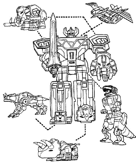 power rangers megazord and dinosaurs coloring page for