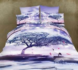 Light Purple Bedding Sets High Quality Light Purple Crane Tree Print 4