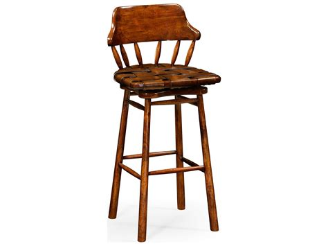 Farmhouse Bar Stool by Jonathan Charles Country Farmhouse Medium Walnut Bar Stool
