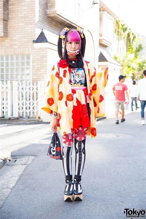 Bag Bodyline 001 Pink harajuku w tails pink bangs in floral kimono