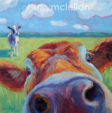 drawing and painting animals cow original painting 10x10 original paintings cow and paintings