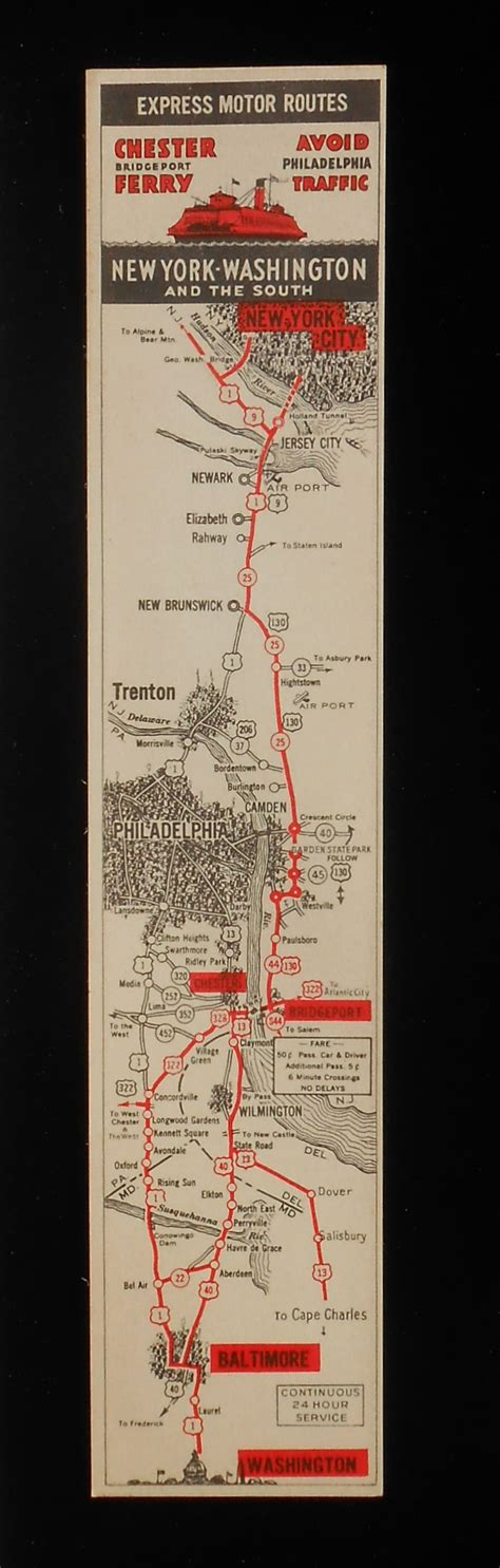 the of glass ferry books 1930s neat bookmark map chester bridgeport nj ferry