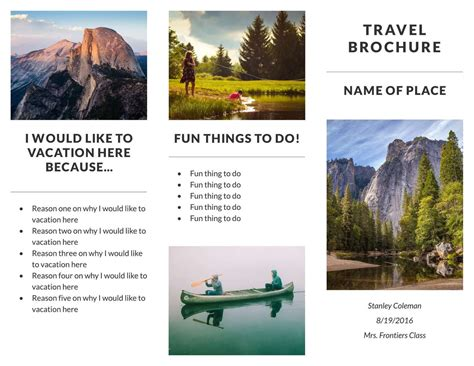 travel brochure templates for students travel brochure exles for students theveliger