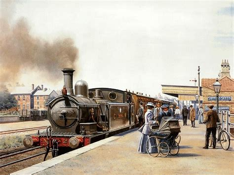painting trains steam locomotive on station water colour painting by