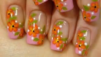 Red amp orange flower vine design colorful nail art tutorial youtube