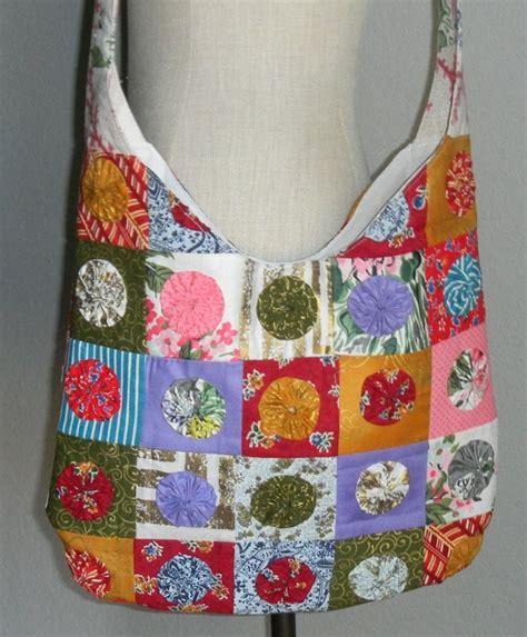 Patchwork Hobo Bag Pattern - patchwork yo yo quilt shoulder hobo bag tote by