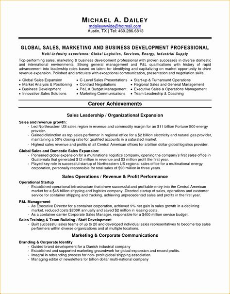 curriculum vitae sle for sales and marketing 6 sales marketing resume sle free sles exles