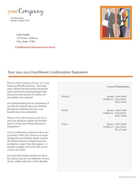 Confirmation Letter Enrollment Enrollment Confirmation Statements
