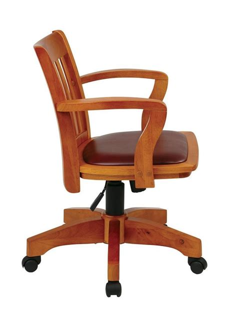 Wood Bankers Chair by Deluxe Wood Banker S Chair With Vinyl Padded Seat In Fruit