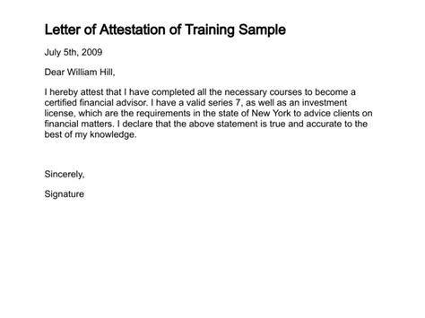 Attestation Letter Of Behavior Letter Of Attestation Sle Letter Of Attestation