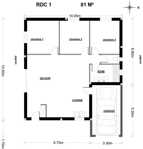 Plan Maison 90m2 Plain Pied 4345 by Plan Maison 90m2 Plain Pied Plan De Maison Plain Pied 3
