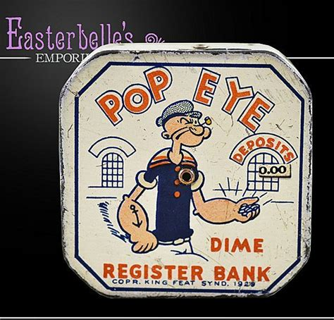 diner bank 1929 tin lithographed popeye dime register bank