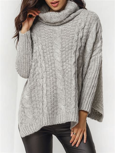 knitting pattern loose sweater grey high neck cable knit loose sweater shein sheinside