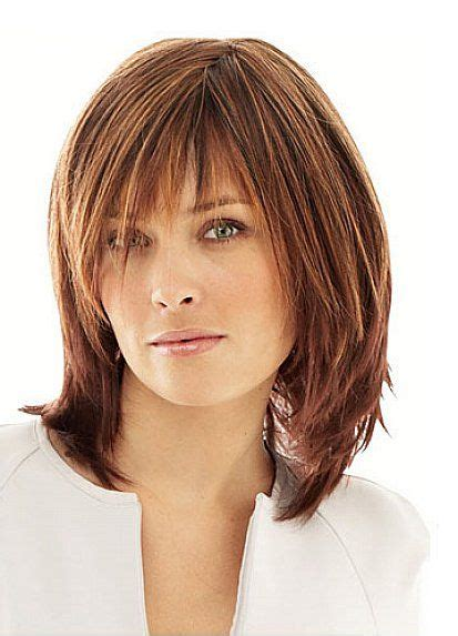 haircuts for wispy mousy brown short to medium layered hairstyles with thin bangs for