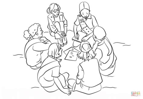 Blue Girl Scout Daisy Petal Coloring Page Sketch Coloring Page Scout Petal Coloring Page Free
