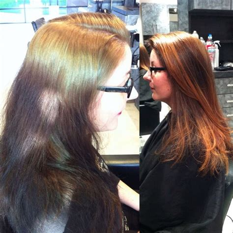 color correction for light brown hair that turned into orange blonde highlights with dark base dark brown hairs