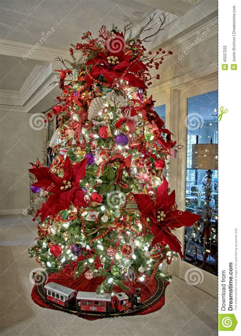clear poinsetta holiday flower xmas lights tree ornaments stock photo image of tree lights 40027232