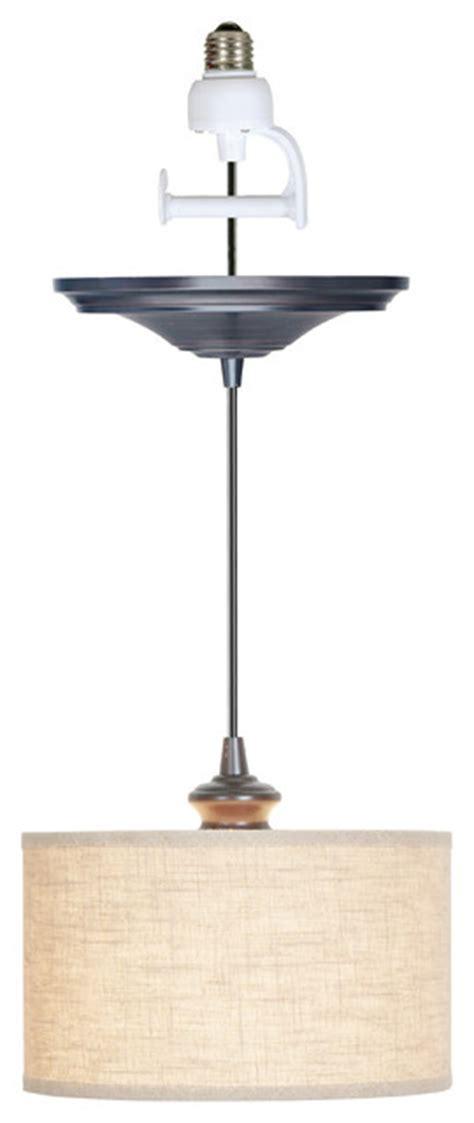 instant pendant light adapter instant pendant light linen drum shade brushed bronze
